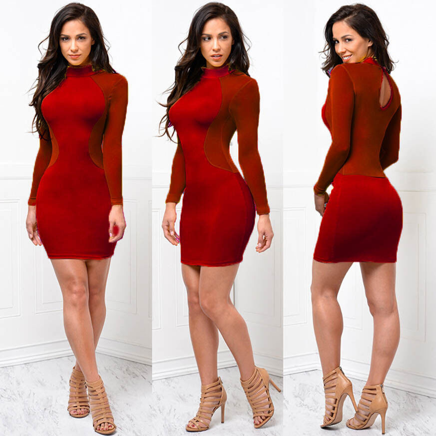 HTB1hD..cLc3T1VjSZLeq6zZsVXaR Sexy Women Dress See Through Mesh Bandage Bodycon Long Sleeve Women Clothes Evening Sexy Party Clubwear Sexy club style dress