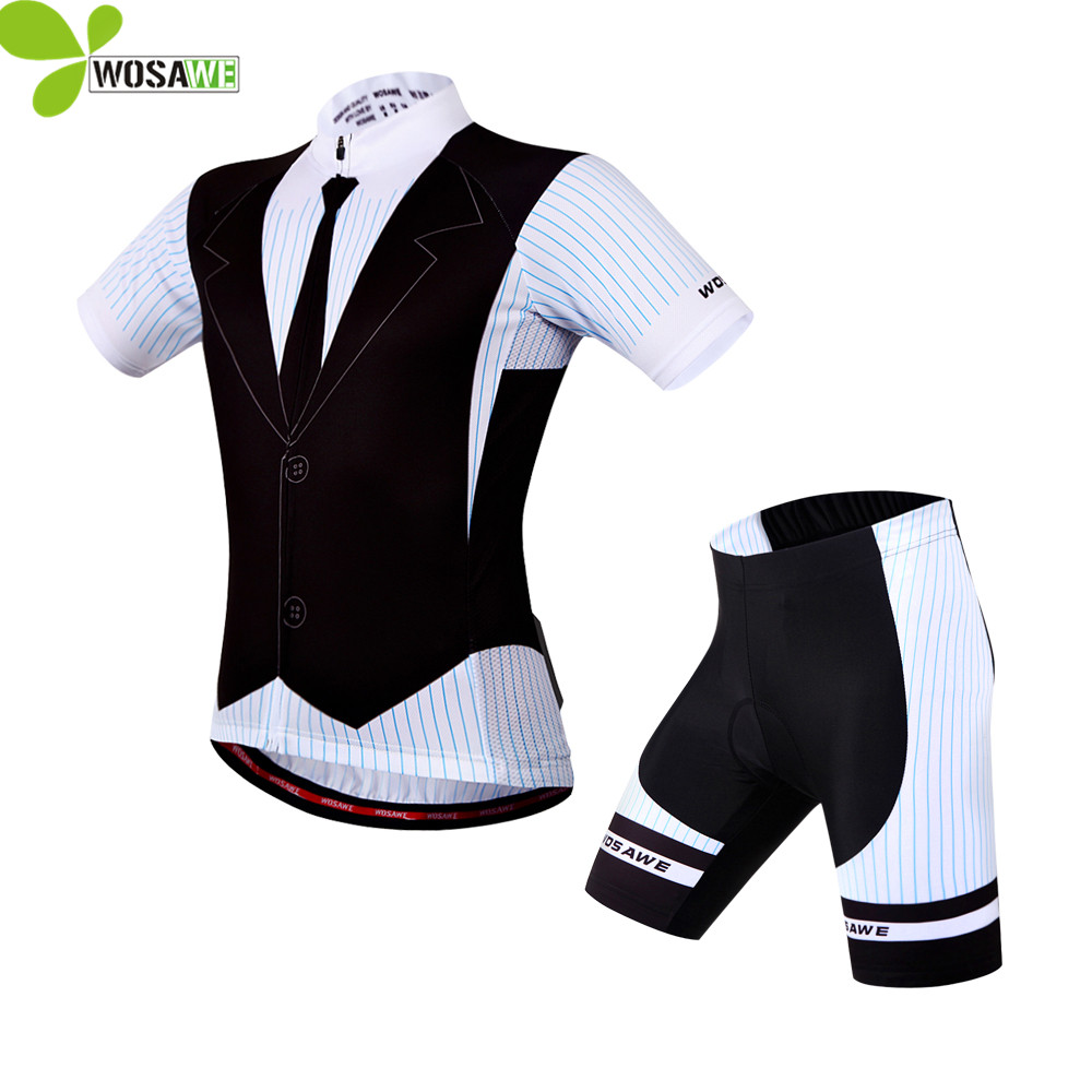 WOSAWE Summer Sports Jersey Cycling Set Clothing Short Sleeve Men Suits Bike Clothes 4D Gel Pad Ropa Ciclismo Bicycle Jersey Kit