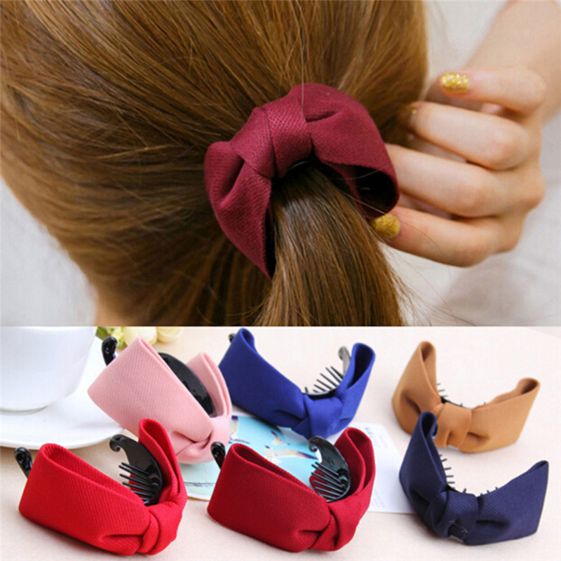 1PC TEROKK Hair Claw Solid Big Bows Banana Hairpins Ties Ponytail Headband Hair Clips Hair Accessories For Women Girls