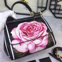 Элитный бренд Сицилии в этническом стиле с цветочным принтом из натуральной кожи сумка Для женщин платины сумки кошелек женский сумка/сумк