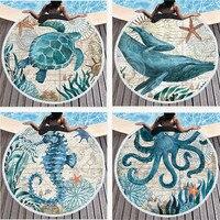 Round Beach Towel Mandala Marine life Microfiber Large Beach Towels for Living Room Home Decor Boho Bath Towels for adults