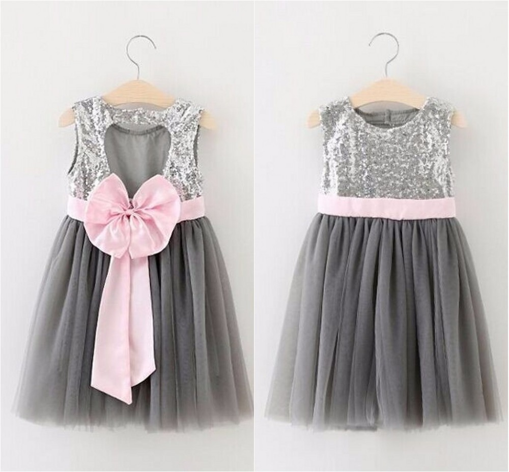 EMS DHL Free ship 2016 Summer New Girl Dresses Bow Silver Sequins Grey Gauze Sundress Children Princess Dress Sequin Sparkle ems dhl free summer new girls princess dress lace bow v back tulle gauze sequin sparkle sleeveless tiers pearls beaded dress
