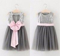 Ems dhl حررت سفينة 2016 صيف جديد فتاة فساتين القوس الفضة الترتر رمادي الشاش فستان الشمس الأطفال الأميرة الترتر البريق