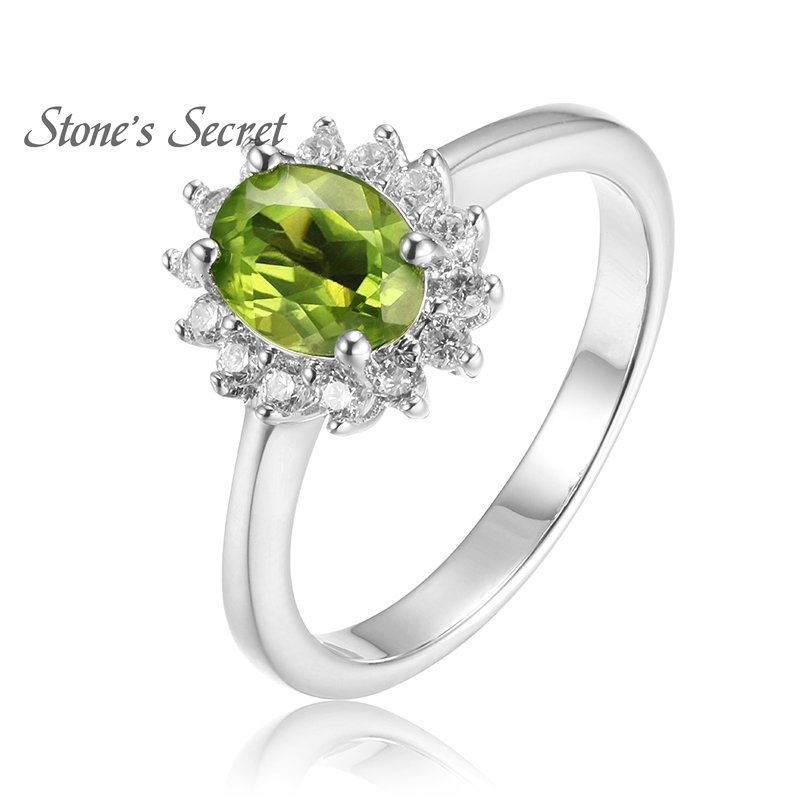 925 Sterling Silver Ring Classic Natural Peridot Ring