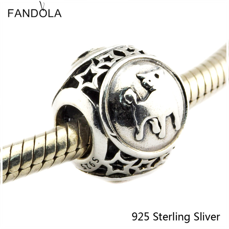 Taurus Star Sign 925 Sterling Silver Charm Beads Fits For Pandora Bracelet Charms for DIY Fine Jewelry