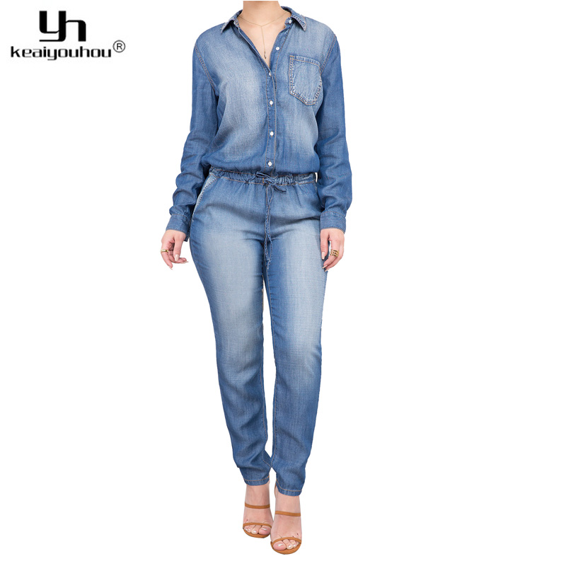 keaiyouhuo 2017 Spring Autumn Casual Denim Jumpsuits Long Sleeve Jeans Rompers Womens Jumpsuit Denim Overalls For Women Clothing