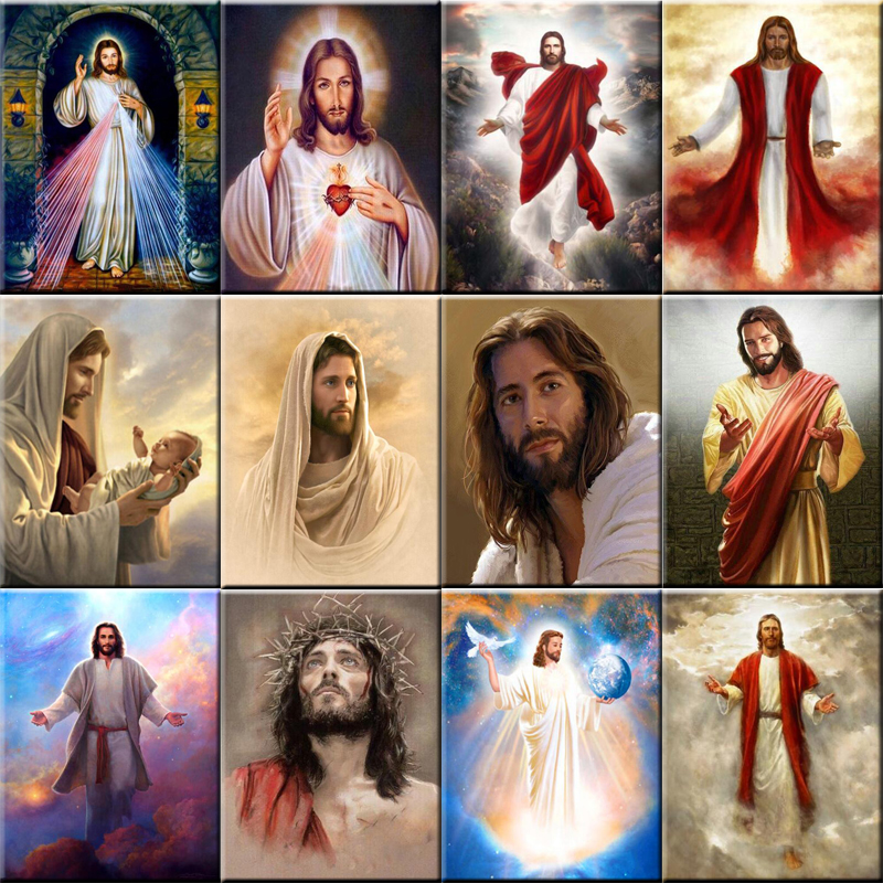 2018 Diy diamante pintura Jesucristo icono completo redondo strass punto de cruz mosaico de cristal bordado hogar Decoración fc673