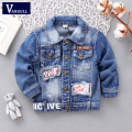 2016 autumn and winter fashion children's coat boy washed denim soccer patch holes letter denim jacket