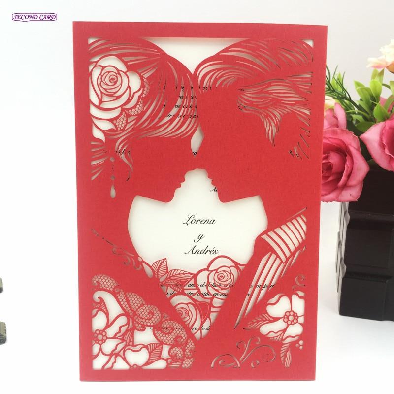50set Bride And Groom Laser Cut Invitation Card For Wedding ...