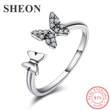 SHEON Hot Sale 925 Sterling Silver Dazzling CZ Flying Butterfly Open Finger Ring for Women Fashion Sterling Silver Jewelry Gift цена