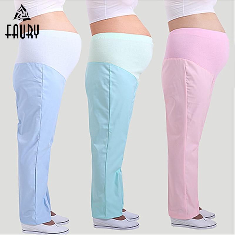 Pregnant Nurses Women Work Pants Thin Thick Plus Size Adjustable Elastic Waist Stomach Lift Hospital Medical Uniform Long Pants