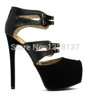 2015 Sexy Black Thin Heels Women Shoes Round Toe High Heels Black Party Women Shoes Cheap