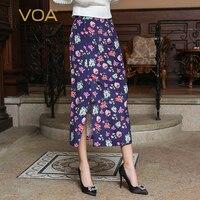 VOA осень 2018 г. китайский стиль винтаж элегантный фиолетовый принт Boho тонкий линии юбка плюс размеры для женщин шелковая Макси CJH00101