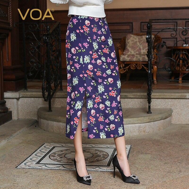 Voa осень 2017 г. китайский Стиль Винтаж элегантный фиолетовый печати BOHO Тонкий юбка плюс Размеры Для женщин шелковая юбка макси cjh00101