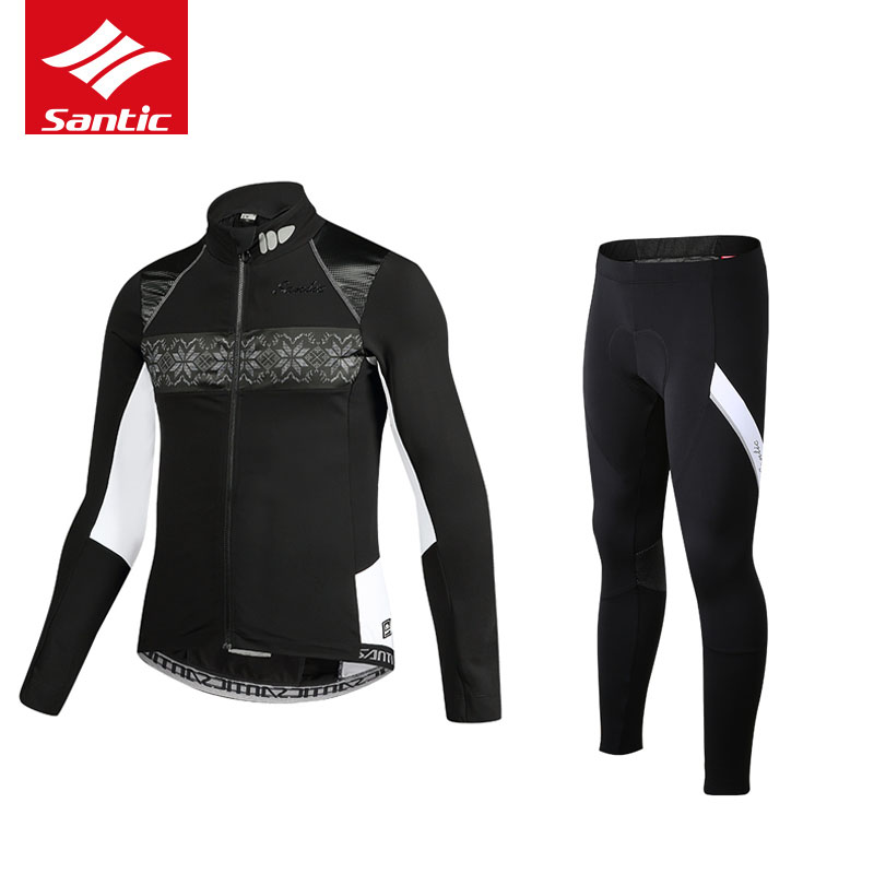 Santic Winter Fleece Cycling Sets Suits Bicycle Thermal Jacket Men's Bike Trousers Winter Cycling Clothing Sportswear ciclismo цена