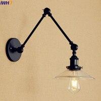 Iwhd preto edison led luzes de parede para casa iluminação quarto ajustável braço longo lâmpada parede ao lado abajur vidro apliques pared