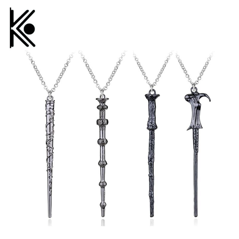 wholesale 20/pc Hogwarts necklace Movie Six Phalanx Magic Wand Pendant Necklace movie necklace wholesale