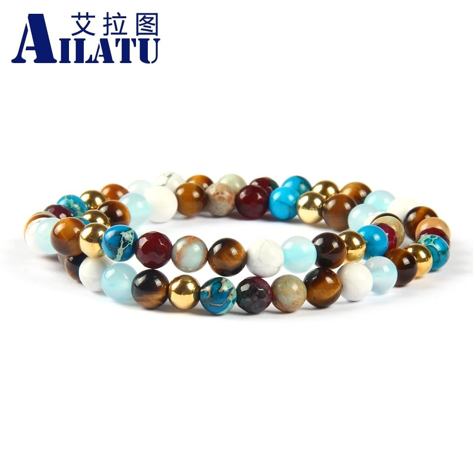 Ailatu Großhandel Männer Wrap Um Schmuck mit 6mm Natürlichen Tigerauge, weiß Howlith Stein Elastischen Perlen Armband-in Strang-Armbänder aus Schmuck und Accessoires bei  Gruppe 1