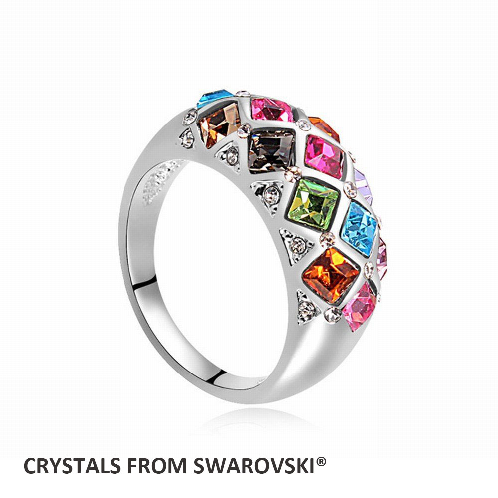 2016 Hot Sale New charming square finger ring for Party With Crystals from SWAROVSKI good for Christmas gift Bijoux wholesale