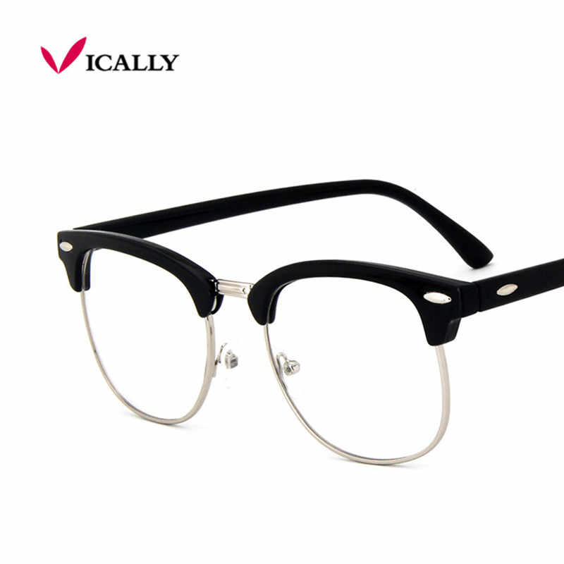 30ffa60e8a Moda retro metal medio Marcos Gafas Marcos mujer hombres vidrio de lectura  UV protección lente transparente