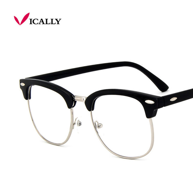 41b60477d4 Retro Fashion Metal Half Frame Glasses Frame Woman Men Reading Glass UV  Protection Clear Lens Computer Eyewear Eyeglasses