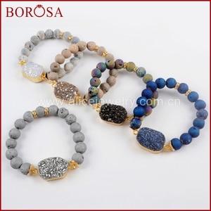 Image 4 - BOROSA 5 ピース新ゴールドカラーチタン Druzy ブレスレット 10 ミリメートルビーズ混合色のブレスレットジュエリーのための宝石バングル女性 G1536