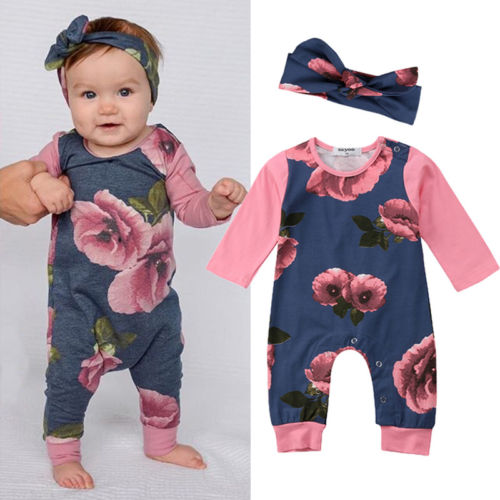 2018 Newborn Baby Girls Long Sleeve Flower Romper  Babies GIirl Floral Jumpsuit Rompers Outfit Set Clothes