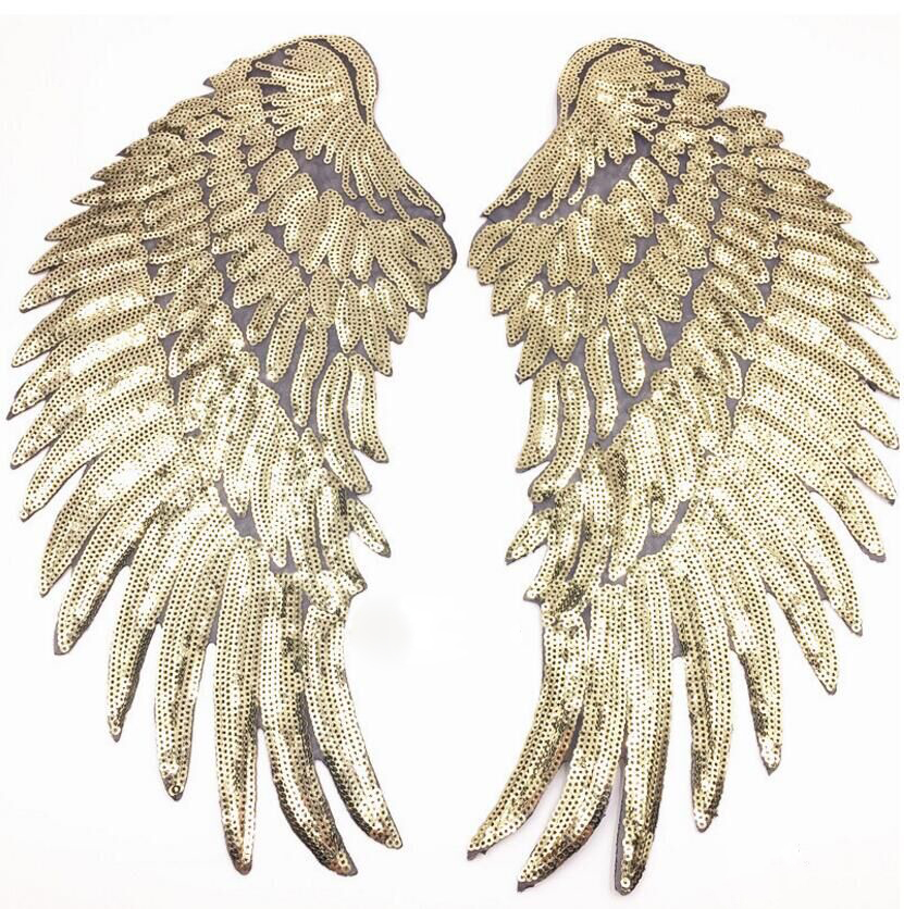 Angel Wing Feather Sequin Brodert stoff Stor patch Applique pinneklær Dekorer tilbehør DIY