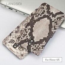 wangcangli For Huawei Honor 6X Luxury handmade real python Skin leather phone case Genuine Leather
