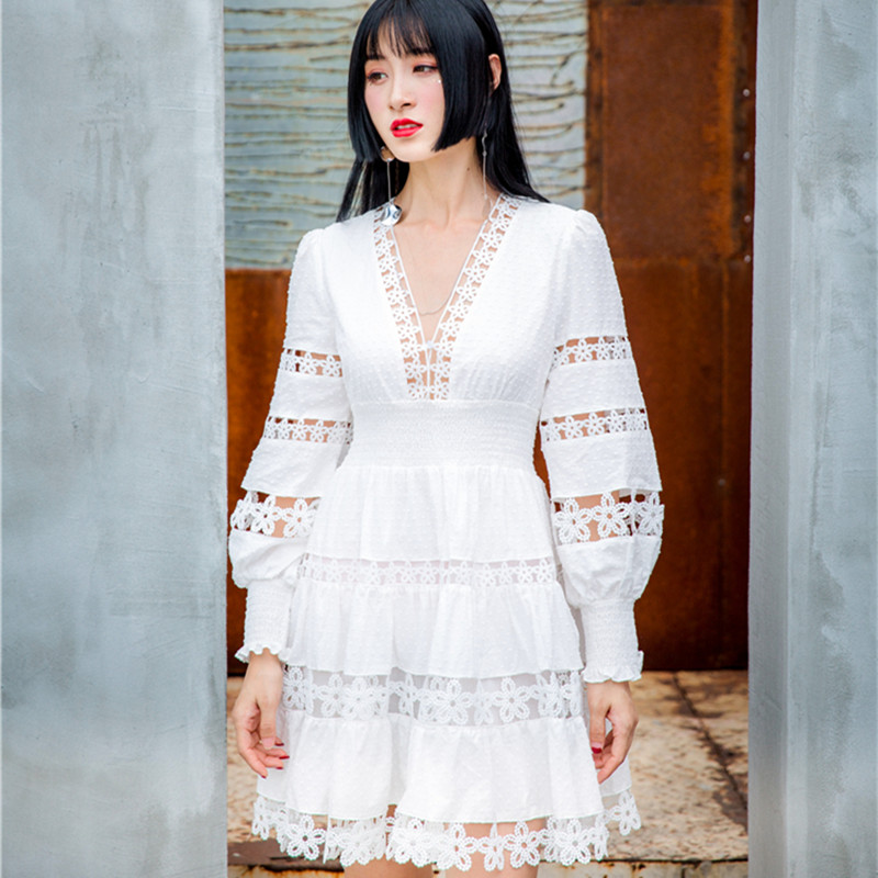 HANZANGL New 2019 White Lace Dress Women V-neck Puff Sleeve Flower Hollow Thin Wave Point Flocking Casual Holiday Party Dresses