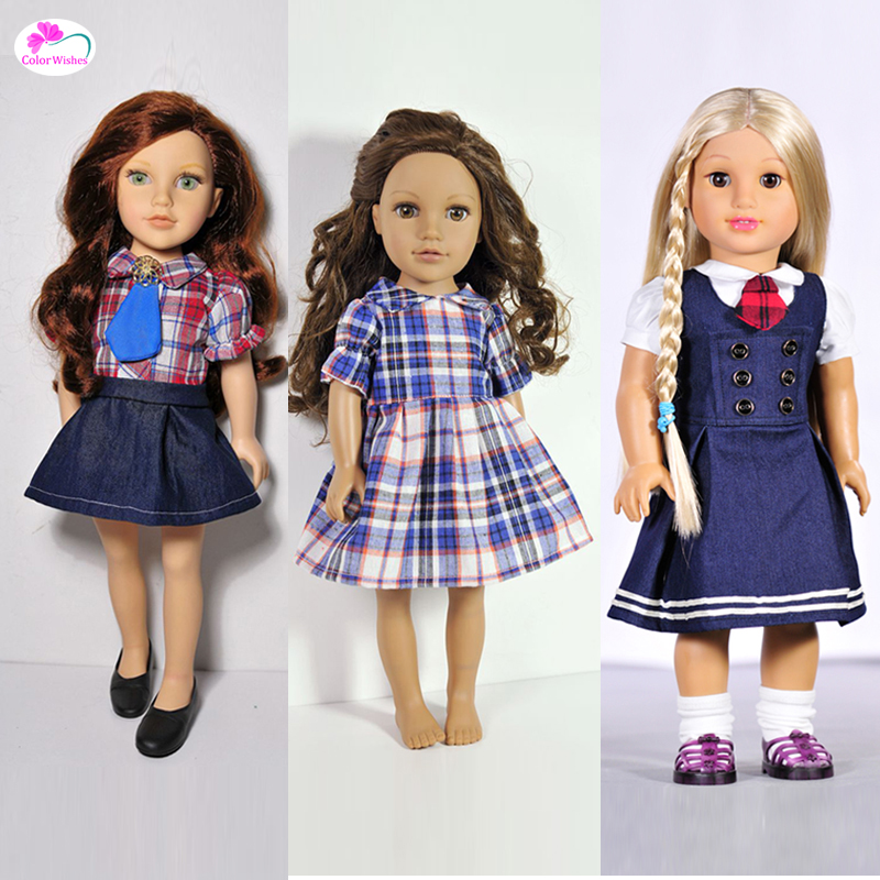 Fashion dresses, school uniforms Clothes for dolls 18 Inch 45cm American girl Accessories for dolls