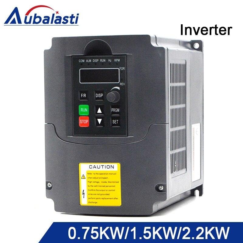 Aubalasti Inversor 0.75kw 1.5kw 2.2kw 220 v Inversor de Freqüência Monofásico entrada 3 saída Fase 400 hz 7a 20a para máquina CNC