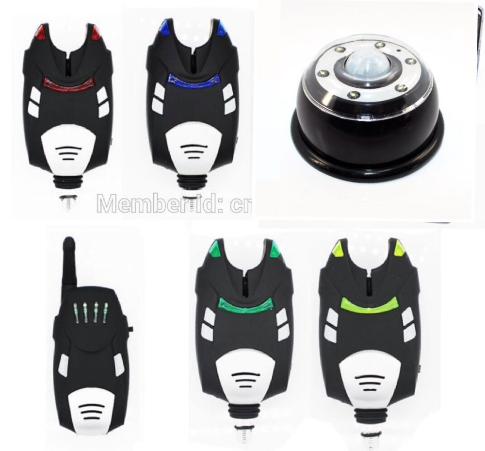 1+4 Fishing Alarm Set Wireless Digital Water-resistant  alarm with shock Receiver + tent light in the Case new restaurant equipment wireless buzzer calling system 25pcs table bell with 4 waiter pager receiver