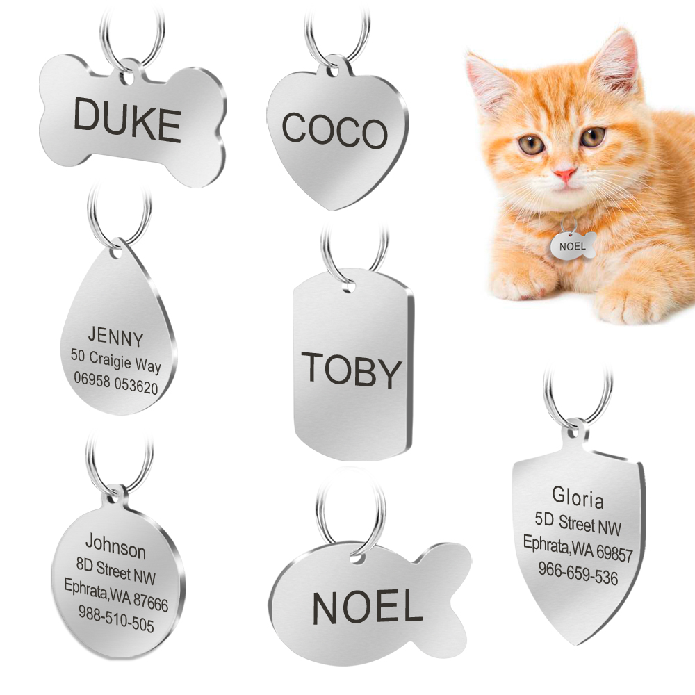 Tag Anjing Keluli tahan karat Tag Customized Dog Cat ID Tag Tag Personalized Engraved In Collar Pet Untuk Anjing Dan Ukiran Kucing Percuma