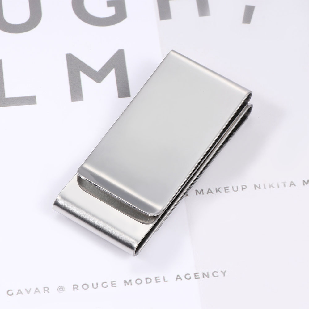 2 Layer Stainless Steel  Clip  Silver Metal Pocket Houder Wallet Credit Card  Cash for Unisex