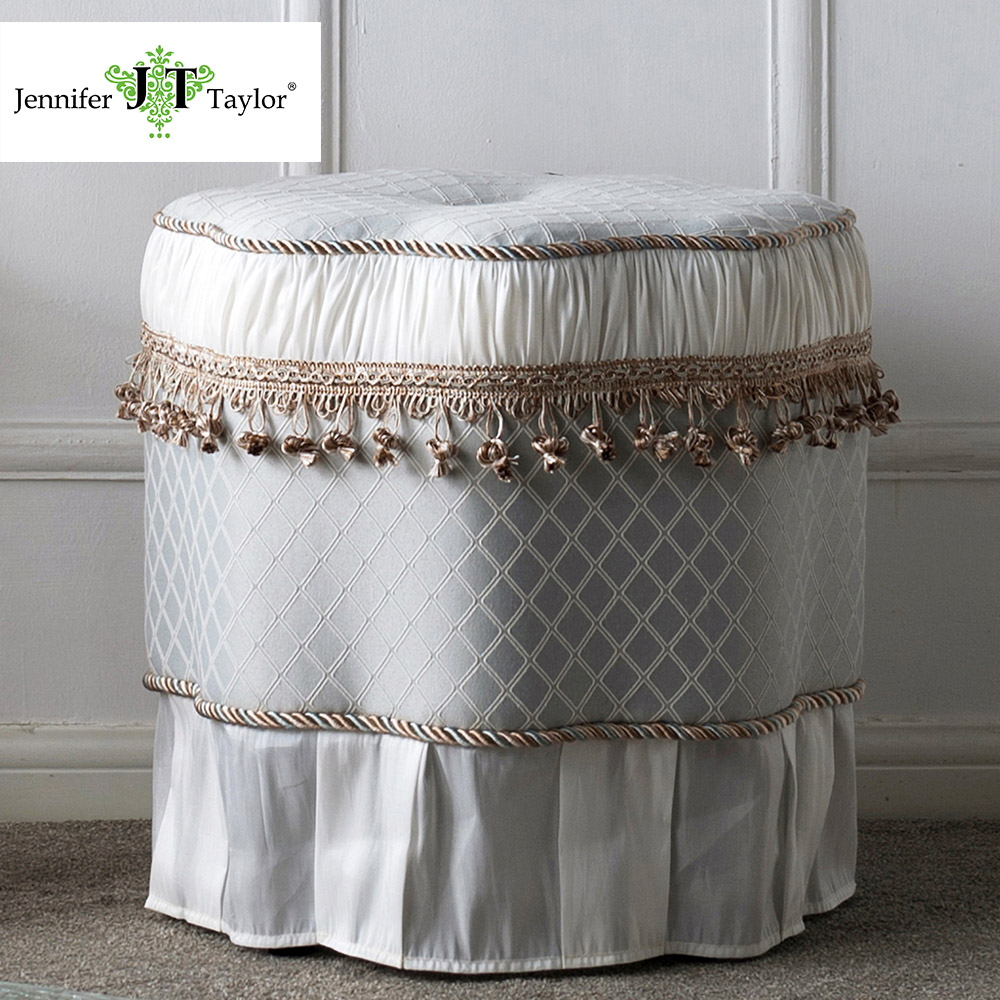 Jennifer Taylor Home, Ottoman, Multicolored, Polyester, Fringe, Tassel w/ Skirt 20D x 18H 2339 jennifer bassett william shakespeare