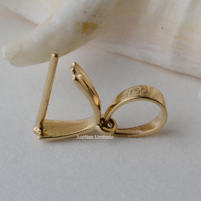 11mm 18 carats or jaune pince bail pendentif fermoir connecteur, pin style pendentif receveur passer par up 3.5mm collier corde