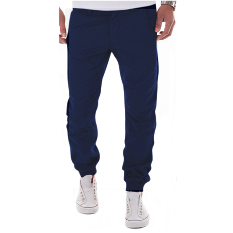 2017 New Casual Men Pants Slim Pant Straight Trousers Fashion Solid Khaki Black Pants Men Small