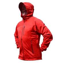 цена на Men's Red Rain jacket Waterproof Hooded Quick Dry Winbreaker Breathable Lightweight Softshell for Outdoor Travel Hiking Cycling