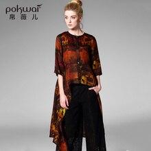 POKWAI Casual Silk Shirts Women Tops New 2017 Half Sleeve Blouse O-Neck Undies Long Sleeve Overshirt Print Chiffon Ladies Top