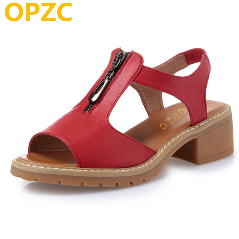 OPZC 2018 Summer Gladiator Sandals Women Aged Leather Flat Fashion Women Shoes Casual Occasions Comfortable The Female Sandals discount 2018 fashion leather casual flat shoes women sandals summer shoes flat hollow comfortable breathable size 34 44