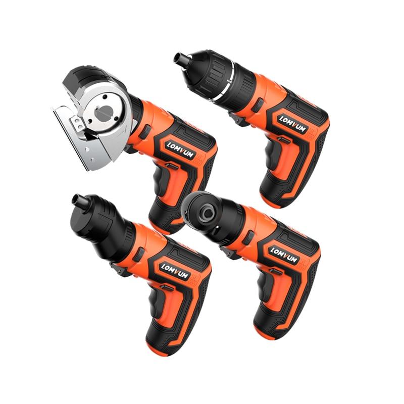 LOMVUM Mini USB Rechargeable Electric Screwdriver Set 4V Cordless Screwdriver Set 4 Heads Changeable Multifunctional Screwdriver