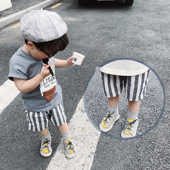 1-6 Years Older Boys and Girls Pants 2018 Summer Baby Blue White Striped Casual Pants Children's Short Pants Kids Clothes