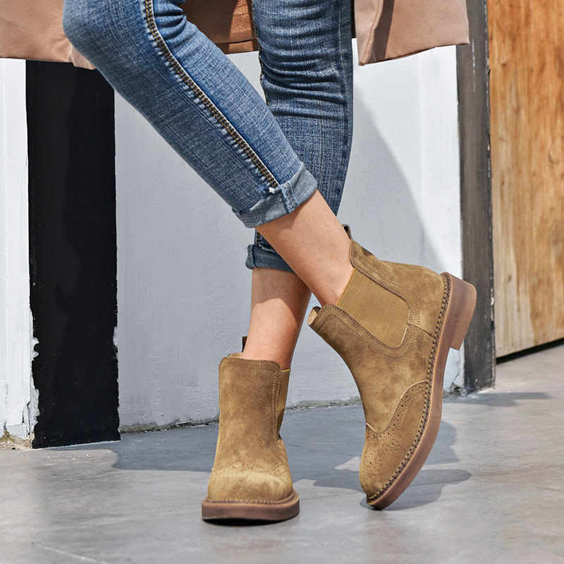 BeauToday Chelsea Boots Women Elastic Ankle Pig Suede Brogue Boot Genuine Leather Quality Brand Lady Shoes Handmade 04016