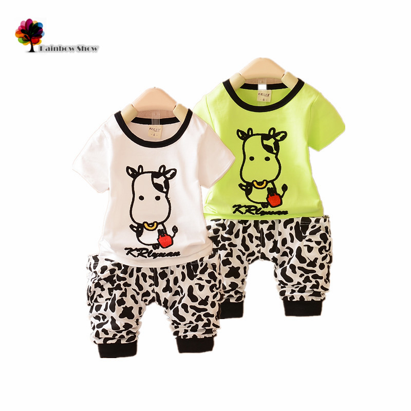New Children Clothing Boys Summer Sets Children Casual Cows Design Modal Cotton Vest and Shorts Sets Baby Pants Sets