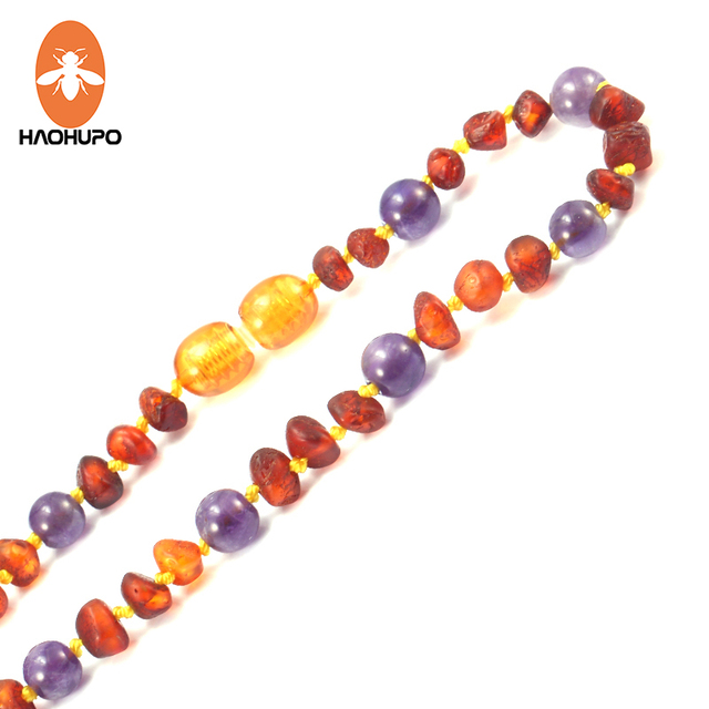 Haohupo Unpolished Amber Baby Teething Bracelet Necklace With Natural Amethyst Stone Irregular Jewelry For