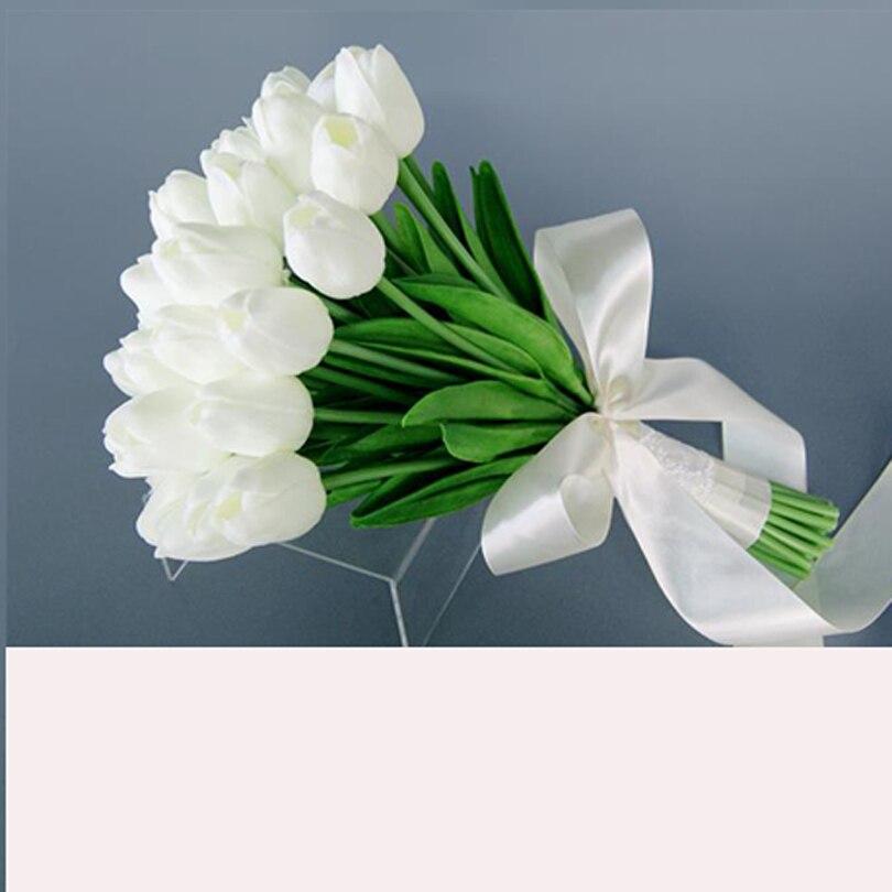 Sexemara Decorazione Di Cerimonia Nuziale Artificialwhite Scuro Rosso Sposato Emulazione Dell'unitÀ Di Elaborazione Tulipani Bouquet Da Sposa 30 Pz/lotto Rendere Le Cose Convenienti Per I Clienti