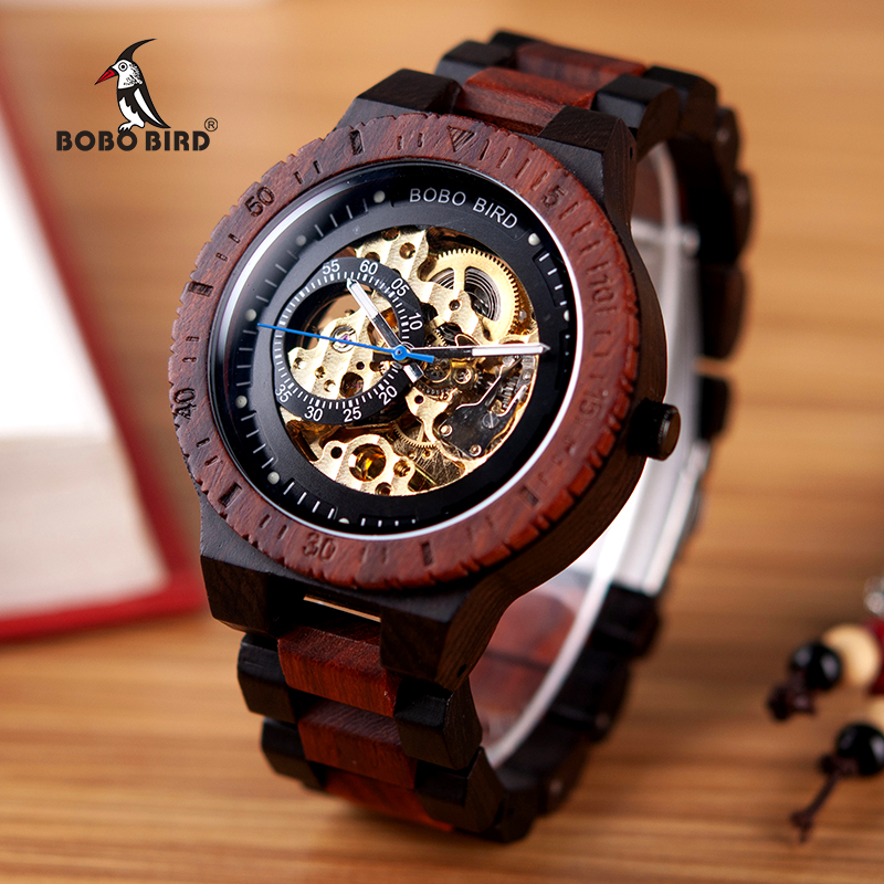 BOBO BIRD Wooden Mechanical Watch Men Relogio Masculino Big Mens Watches Top Brand Luxury Timepieces erkek kol saati W-R05(China)