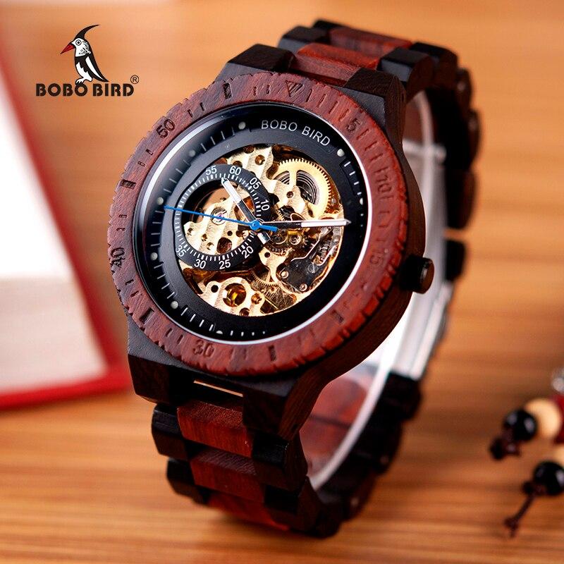 Relógio masculino de madeira mecânico BOBO BIRD, relógio masculino, relógios de homens grandes, marca top, luxuoso, peças de tempo, erkek kil saati W-R05