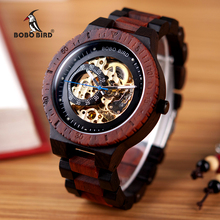 Relógio masculino de madeira mecânico BOBO BIRD, relógio masculino, relógios de homens grandes, marca top, luxuoso, peças de tempo, erkek kil saati W R05